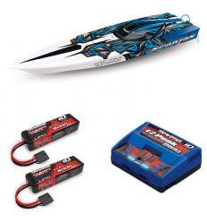 Pack Traxxas Spartan Bleu + Chargeur double + 2 batteries 5000 mAh