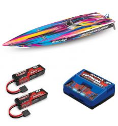 Pack Traxxas Spartan Rose + Chargeur double + 2 batteries 3s 5000 mAh