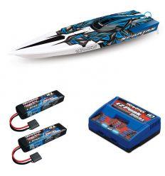 Pack Traxxas Spartan Bleu + Chargeur double + 2 batteries 2s 7600 mAh