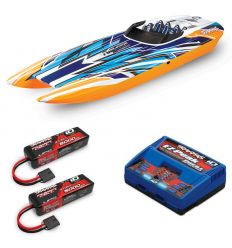 Pack Traxxas M41 Orange X + Chargeur double + 2 batteries 3s 5000 mAh