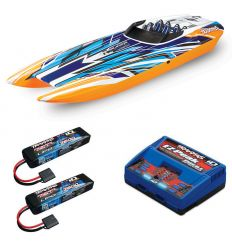 Pack Traxxas M41 Orange X + Chargeur double + 2 batteries 2s 7600 mAh