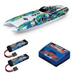 Pack Traxxas M41 Vert + Chargeur double + 2 batteries 2s 7600 mAh
