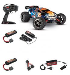 Pack Traxxas E-Revo 1/16 brushed Orange + Alimentation 220v allume cigare