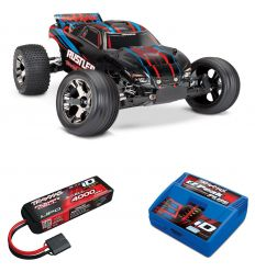 Pack Traxxas Rustler - 4x2 - Rouge + Chargeur + batterie 3s 4000 mAh