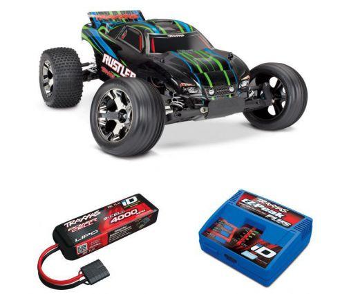 Pack Traxxas Rustler - 4x2 - Verte + Chargeur + batterie 3s 4000 mAh