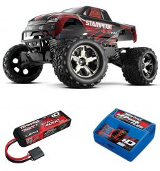 Pack Traxxas Stampede 4x4 rouge + Chargeur + batterie 3s 4000 mAh