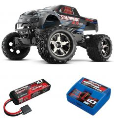 Pack Traxxas Stampede 4x4 gris + Chargeur + batterie 3s 4000 mAh