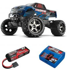 Pack Traxxas Stampede 4x4 bleu + Chargeur + batterie 3s 4000 mAh
