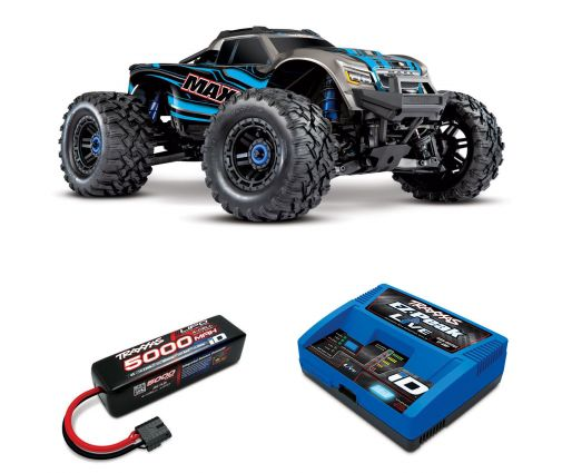 Pack Traxxas Maxx Bleu + Chargeur + batteries 4s 5000 mAh