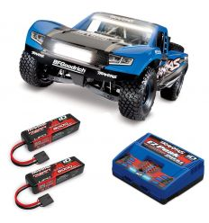 Pack Traxxas UDR Bleu LED + Chargeur double + 2 batteries 5000 mAh
