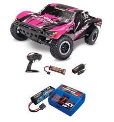 Pack Traxxas Slash 4x2 Rose X + Chargeur + batterie 2s 5800 mAh
