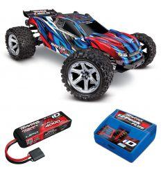 Pack Traxxas Rustler Bleu VXL 4x4 + Chargeur + batterie 3s 4000 mAh