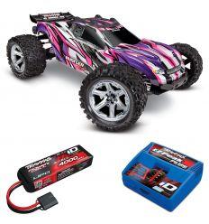 Pack Traxxas Rustler Rose VXL 4x4 + Chargeur + batterie 3s 4000 mAh