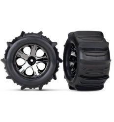 Roues montees collees chromees noires pneus pelle (2) ( TRX4175 )