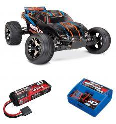 Pack Traxxas Rustler - 4x2 - Orange + Chargeur + batterie 3s 4000 mAh
