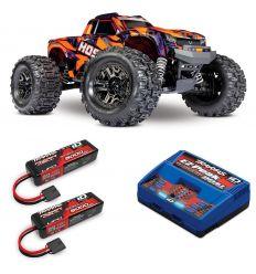 Pack Traxxas Hoss Orange + Chargeur double + 2 batteries 3s 5000 mAh
