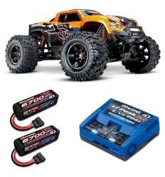 Pack Traxxas X-Maxx 8s Orange + Chargeur double + 2 batteries 4s 6700 mAh