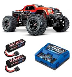 Pack Traxxas X-Maxx 8s Rouge X + Chargeur double + 2 batteries 4s 6700 mAh