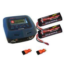 Pack Chargeur COBRA CH100V2 + 2 x Lipo 3S 5000MAH F2872X