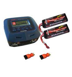 Pack Chargeur COBRA CH100V2 + 2 x Lipo 2S 7600MAH F2869X