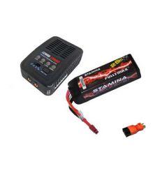 Pack Chargeur COBRA  E450 AC + Lipo 3S 6400MAH F2857X