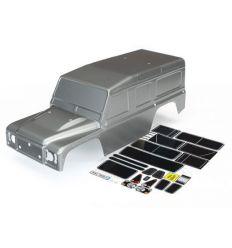 Carrosserie Land Rover Defender gris peinte avec autocollants  ( TRX8011R