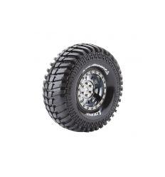 Louise RC - CR-ARDENT - Set de pneus Crawler 1-10 - Monter - Super Soft - Jantes 1.9 Chrome-Noir - Hexagone 12mm ( L-T3232VBC )