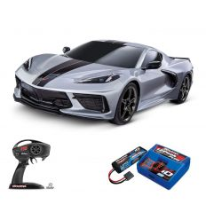 Pack Traxxas Corvette Grise + Chargeur + batterie 2s 5800 mAh
