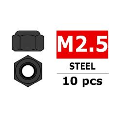 Team Corally - Ecrou Nylstop en acier M2.5 - Noir - 10 pcs ( C-31001 )