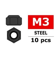 Team Corally - Ecrou Nylstop en acier M3 - Noir - 10 pcs ( C-31002 )