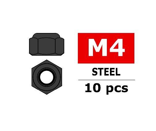 Team Corally - Ecrou Nylstop en acier M4 - Noir - 10 pcs ( C-31003 )