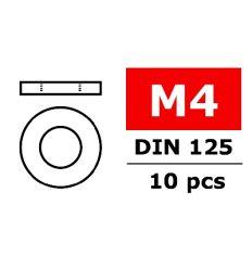 Team Corally - Rondelles - M4 - Acier galvanisé - 10 pcs ( C-3201-40 )