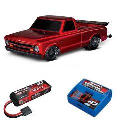 Pack Traxxas Drag Slash Rouge + Chargeur + batterie 3s 4000 mAh