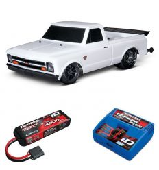 Pack Traxxas Drag Slash Blanc + Chargeur + batterie 3s 4000 mAh