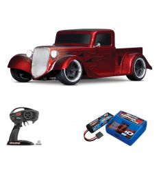 Pack Traxxas Hot Rod Truck Rouge + Chargeur + batterie 2s 5800 mAh