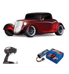 Pack Traxxas Hot Rod Coupé Rouge + Chargeur + batterie 2s 5800 mAh