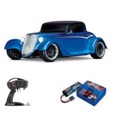 Pack Traxxas Hot Rod Coupé Bleu + Chargeur + batterie 2s 5800 mAh