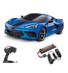 Pack Traxxas Corvette Bleu + Chargeur + batterie nimh 3000 mAh