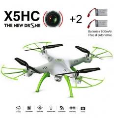 Drone Syma X5HC, caméra HD 720p, altimètre, 2 batteries 800