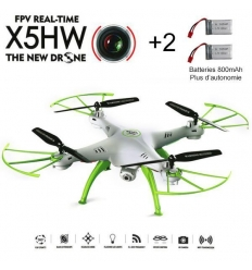 Syma X5HW blanc + 2 batteries 800
