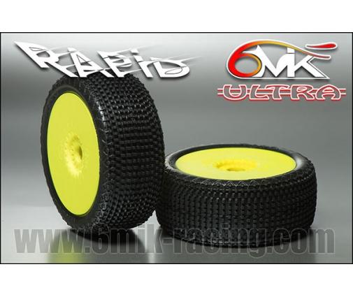 """Pneus Rapid """"ULTRA"""" montés-collés sur jantes jaunes (la paire)"""