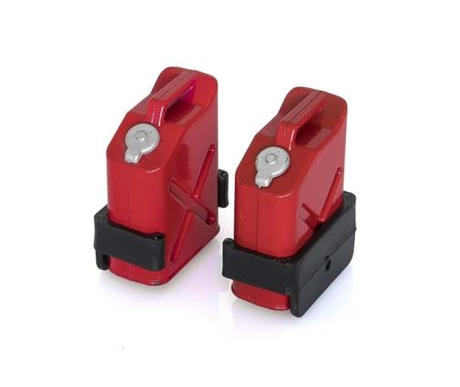 Jerricans essence rouge + support de fixation X2