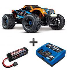 Pack Traxxas Maxx Orange LED + Chargeur + batteries 4s 5000 mAh