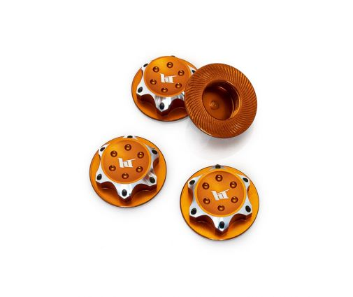 Écrous de Roues Borgne Aluminium 17 mm orange pour Buggy 1/8 (x4)