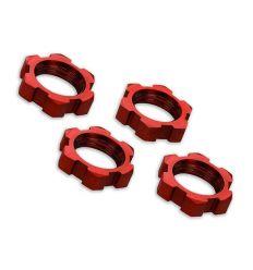 Ecrous de roues Alu 17mm Anodisés rouge (4) ( TRX7758R )