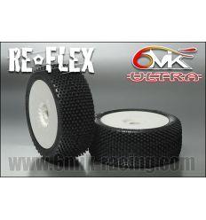 """Pneus Reflex """"ULTRA"""" 1/8 montés-collés sur jantes blanches (la paire)"""